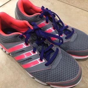 Adidas Running Shoes Sz 6 Gray Pink EUC